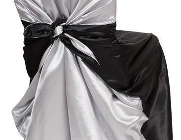 Black/Silver Satin Chair Cover
