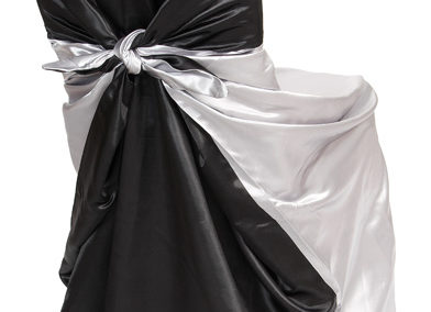 Silver/Black Satin Chair Cover