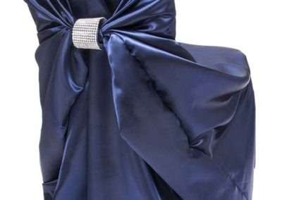 Navy Satin Chair Cover