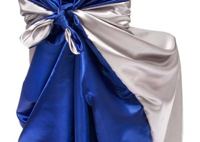 Silver/Blue Satin Chair Cover